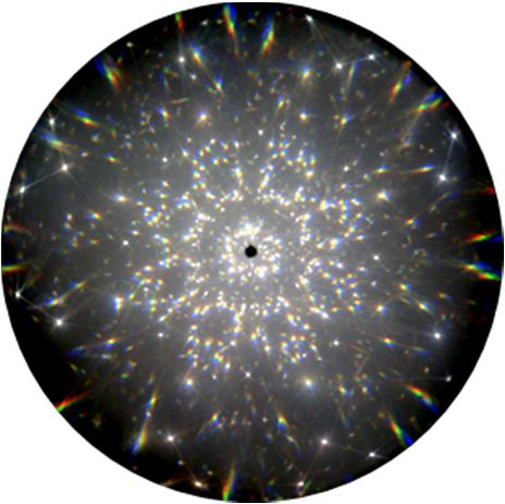Superposition of 3D scattering distributions of gemstone at 405 nm, 532 nm, and 640 nm.